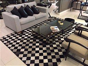 Tapete de Couro Madri Diagonal - Preto e Mix Gris Grey