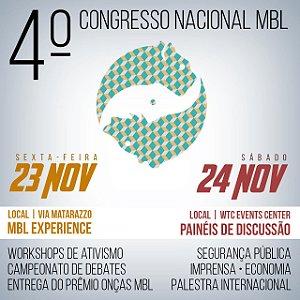 Ingresso 4º Congresso Nacional MBL - Dias 23 e 24 de Novembro