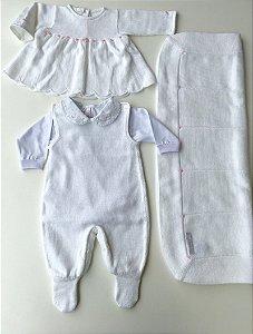 Kit Saída de Maternidade Branco com Rosas  bordadas - 5 peças