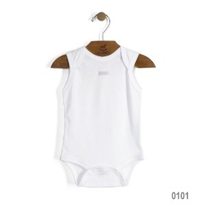 Body  Regata em Suedine Bebê Básico Branco Especial