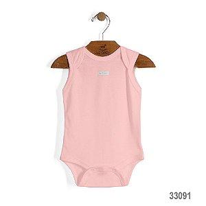Body Regata em Suedine Bebê Básico Rosa Bebê