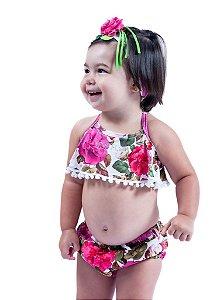 Biquini Bebê Rosas Blusa Pompom