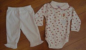Conjunto Body e Calça Rosa e Laço - Algodão Egípcio .