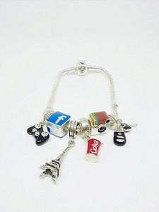 Pulseira LIFE Com 6 Berloques ( Beads / Charms )