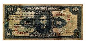Cédula Antiga do Brasil 10 Mil Réis 1926 - Aproveitada
