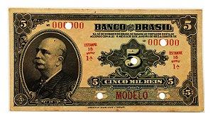 Cédula Antiga do Brasil 5 Mil Réis 1923 - Modelo
