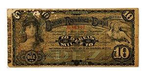 Cédula Antiga do Brasil 10 Mil Réis 1893 - RARA