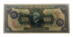 Cédula Antiga do Brasil 100 Mil Réis 1942 - Carimbo de 100 Cruzeiros