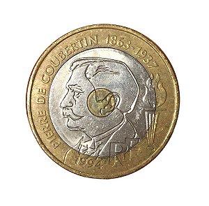 Moeda Antiga da França 20 Francs 1994 - 100º Aniversário do Comitê Olímpico Internacional