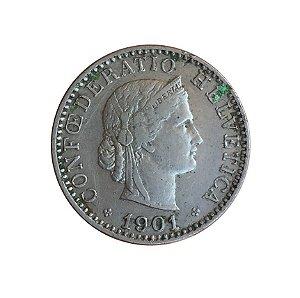 Moeda Antiga da Suíça 20 Rappen 1901 B - Série Libertas
