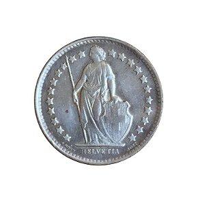 Moeda Antiga da Suíça 1/2 Franc 1950 B - Helvetia Levantada