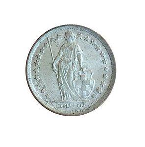 Moeda Antiga da Suíça 1/2 Franc 1959 B - Helvetia Levantada