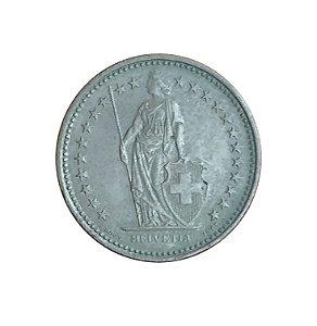 Moeda Antiga da Suíça 1/2 Franc 1989 B - Helvetia Levantada
