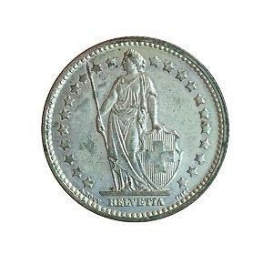 Moeda Antiga da Suíça 1 Franc 1956 B - Helvetia Levantada
