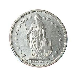 Moeda Antiga da Suíça 1 Franc 1969 B - Helvetia Levantada