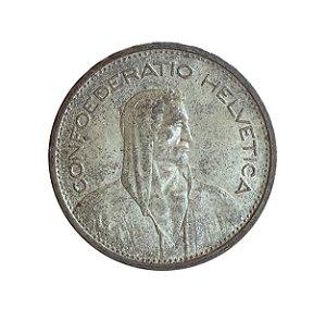 Moeda Antiga da Suíça 5 Francs 1932 B - Herdsman