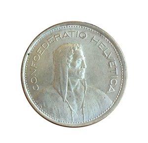 Moeda Antiga da Suíça 5 Francs 1969 B - Herdsman