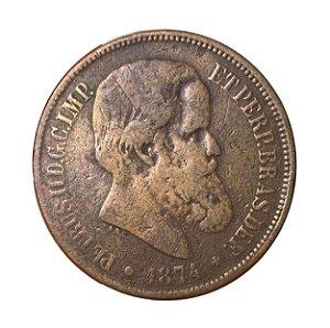 Moeda Antiga do Brasil 40 Réis 1874 - D. Pedro II