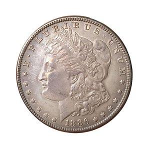 Moeda Antiga dos Estados Unidos 1 Dollar 1886 - Morgan Dollar