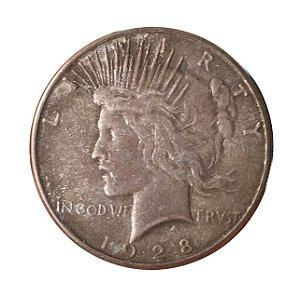 Moeda Antiga dos Estados Unidos 1 Dollar 1928 S - Peace Dollar