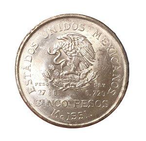 Moeda Antiga do México 5 Pesos 1951