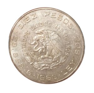 Moeda Antiga do México 10 Pesos 1960 - 150º Aniversário da Guerra da Independência