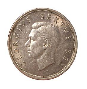 Moeda Antiga da África do Sul 5 Shillings 1949 - Rei George VI