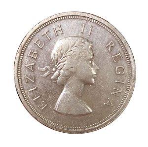 Moeda Antiga da África do Sul 5 Shillings 1957 - Rainha Elizabeth II