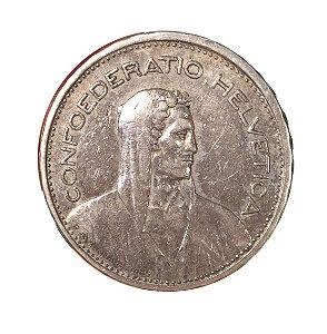 Moeda Antiga da Suíça 5 Francs 1931 B - Herdsman