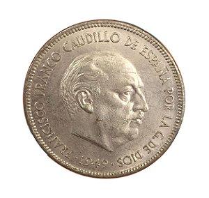 Moeda Antiga da Espanha 5 Pesetas 1949 (*50) - Francisco Franco