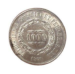 Moeda Antiga do Brasil 1000 Réis 1860 - Data emendada de 1850