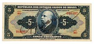 Cédula Antiga do Brasil 5 Cruzeiros 1943 - Autografada