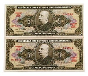 02 Cédulas Antigas do Brasil 5 Cruzeiros 1964 - Sequenciadas