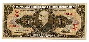 Cédula Antiga do Brasil 5 Cruzeiros 1953
