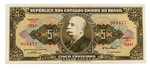 Cédula Antiga do Brasil 5 Cruzeiros 1962