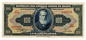 Cédula Antiga do Brasil 100 Cruzeiros 1955 - Série Baixa