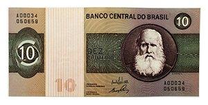 Cédula Antiga do Brasil 10 Cruzeiros 1970
