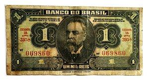 Cédula Antiga do Brasil 1 Mil Réis 1944 - 1 Cruzeiro sem Carimbo
