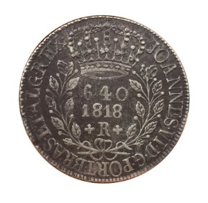 Moeda Antiga do Brasil 640 Réis 1818 R - Esfera Laranja