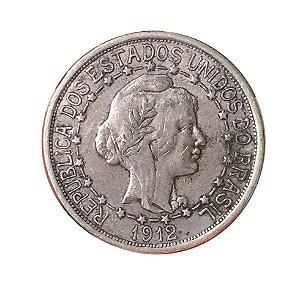 Moeda Antiga do Brasil 1000 Réis 1912 - Estrelas Ligadas