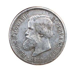 Moeda Antiga do Brasil 2000 Réis 1889 -  Com Rabicho