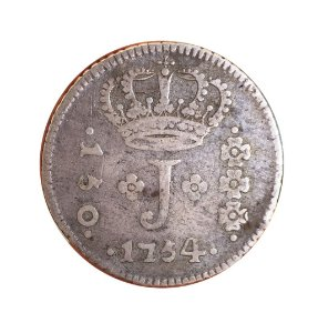 Moeda Antiga do Brasil 150 Réis 1754 R - SÉRIE J