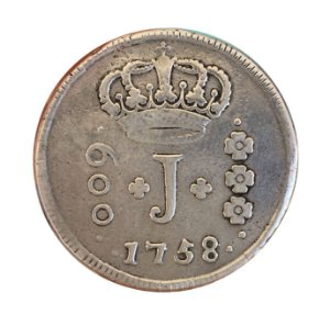 Moeda Antiga do Brasil 600 Réis 1758 R - SÉRIE J