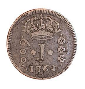 Moeda Antiga do Brasil 600 Réis 1764 R - SÉRIE J