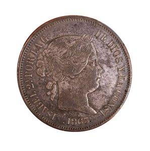 Moeda Antiga da Espanha 20 Reales 1863 - Estrela de 6 Pontas