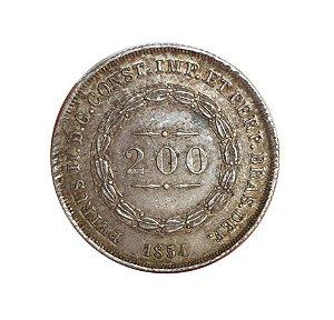 Moeda Antiga do Brasil 200 Réis 1854 - Coroa com Pérolas