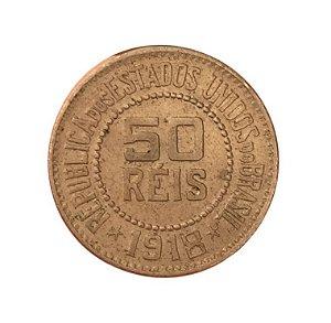 Moeda Antiga do Brasil 50 Réis 1918