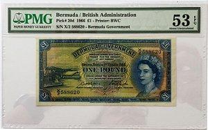 Cédula Antiga da Bermuda 1 Pound 1966 - Certificada pela PMG