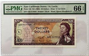 Cédula Antiga do East Caribbean States / St. Lucia 20 Dollars ND(1965) - Certificada pela PMG - RARA