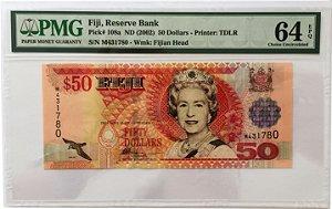 Cédulas Antigas de Fiji 50 Dollars ND(2002) / Par Seriado - Certificadas pela PMG